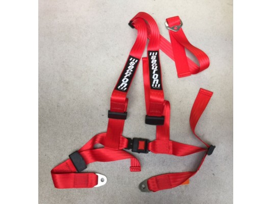 Securon 4 Strap Seatbelts (3 point) RED